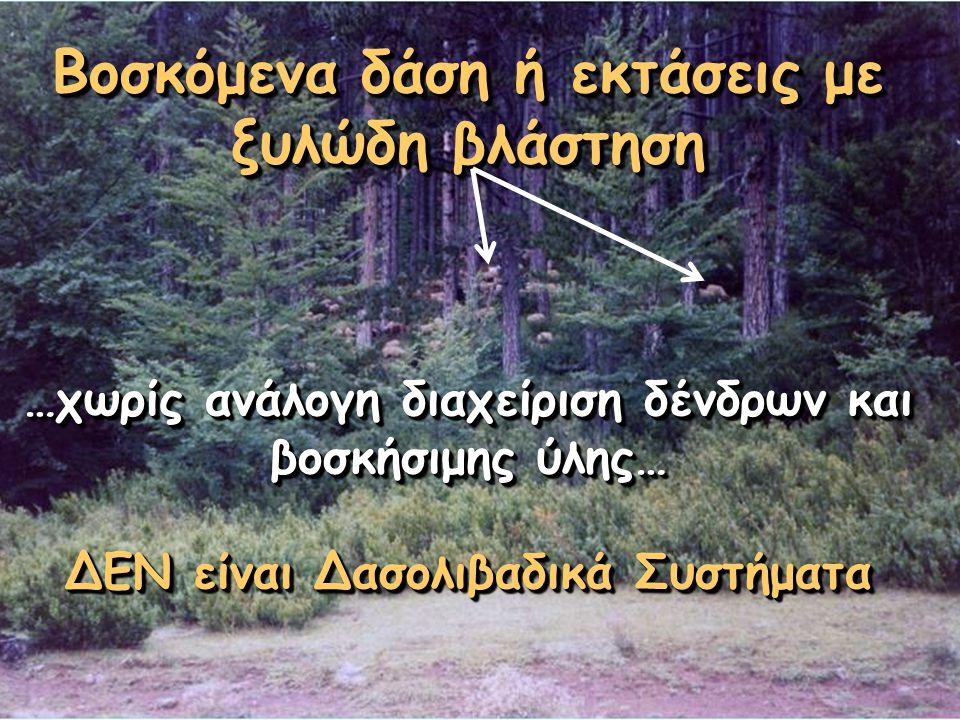 Βοσκόμενα δάση ή εκτάσεις με ξυλώδη βλάστηση …χωρίς ανάλογη διαχείριση δένδρων και βοσκήσιμης ύλης… ΔΕΝ είναι Δασολιβαδικά Συστήματα Βοσκόμενα δάση ή