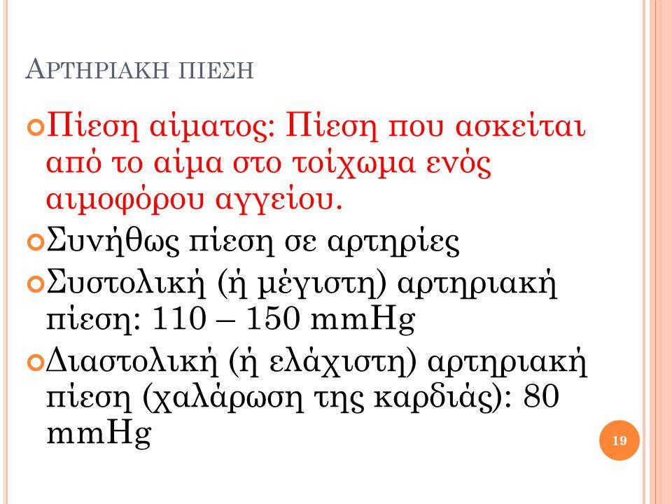 Α ΡΤΗΡΙΑΚΗ ΠΙΕΣΗ Πίεση αίματος: Πίεση που ασκείται από το αίμα στο τοίχωμα ενός αιμοφόρου αγγείου. Συνήθως πίεση σε αρτηρίες Συστολική (ή μέγιστη) αρτ