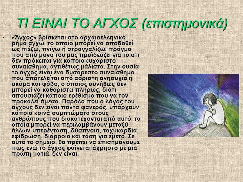 ΤΙ ΕΙΝΑΙ ΤΟ ΑΓΧΟΣ (επιστημονικά) •«Άγχος» βρίσκεται στο αρχαιοελληνικό ρήμα άγχω, το οποίο μπορεί να αποδοθεί ως πιέζω, πνίγω ή στραγγαλίζω, πράγμα που από μόνο του μας προϊδεάζει για το ότι δεν πρόκειται για κάποιο ευχάριστο συναίσθημα, αντιθέτως μάλιστα.