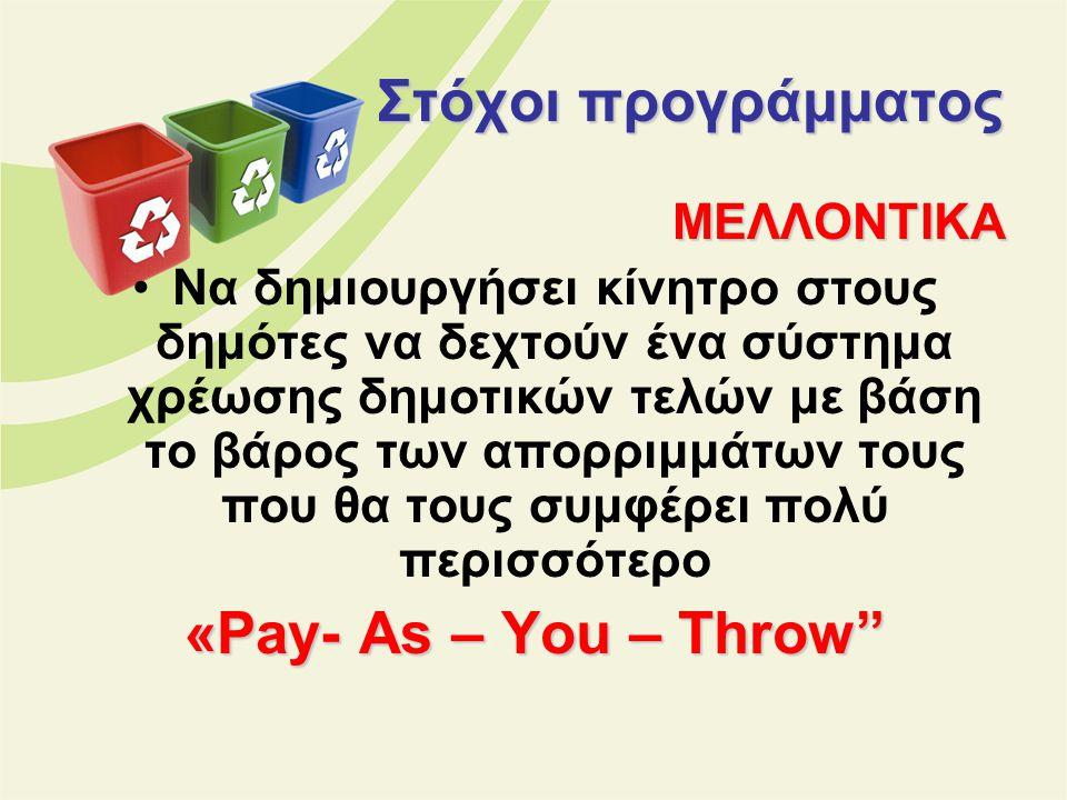 Στόχοι προγράμματος ΜΕΛΛΟΝΤΙΚΑ •Να δημιουργήσει κίνητρο στους δημότες να δεχτούν ένα σύστημα χρέωσης δημοτικών τελών με βάση το βάρος των απορριμμάτων τους που θα τους συμφέρει πολύ περισσότερο «Pay- As – You – Throw