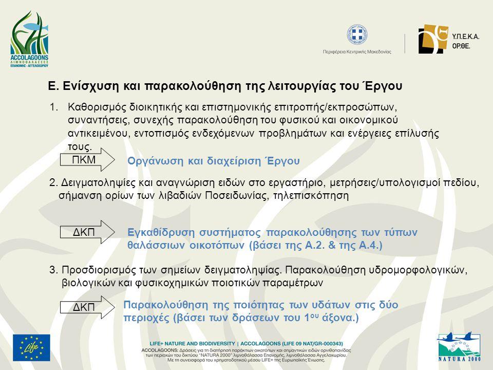 Ε. Ενίσχυση και παρακολούθηση της λειτουργίας του Έργου 1.Καθορισμός διοικητικής και επιστημονικής επιτροπής/εκπροσώπων, συναντήσεις, συνεχής παρακολο