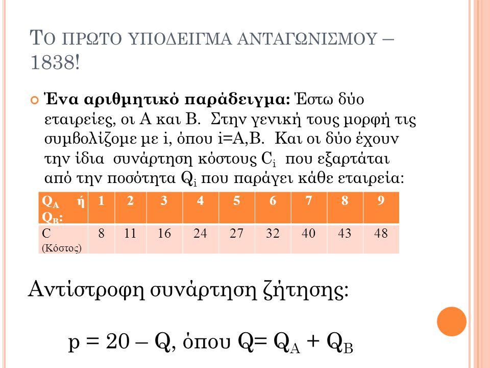 Τ Ο ΠΡΩΤΟ ΥΠΟΔΕΙΓΜΑ ΑΝΤΑΓΩΝΙΣΜΟΥ – 1838! Ένα αριθμητικό παράδειγμα: Έστω δύο εταιρείες, οι Α και Β. Στην γενική τους μορφή τις συμβολίζομε με i, όπου