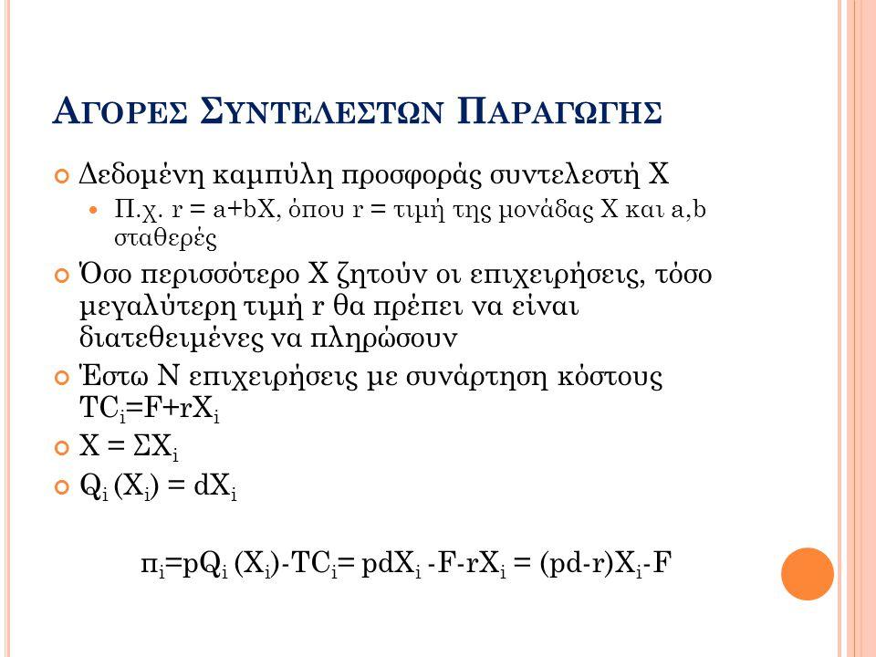 Α ΓΟΡΕΣ Σ ΥΝΤΕΛΕΣΤΩΝ Π ΑΡΑΓΩΓΗΣ Δεδομένη καμπύλη προσφοράς συντελεστή Χ  Π.χ. r = a+bX, όπου r = τιμή της μονάδας Χ και a,b σταθερές Όσο περισσότερο