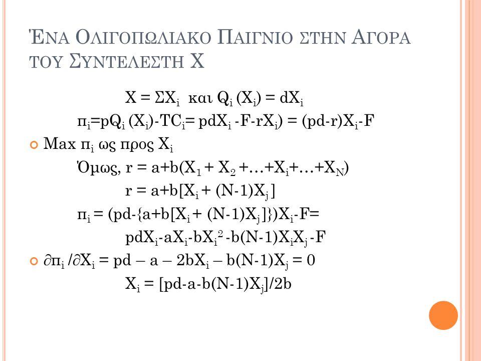 Έ ΝΑ Ο ΛΙΓΟΠΩΛΙΑΚΟ Π ΑΙΓΝΙΟ ΣΤΗΝ Α ΓΟΡΑ ΤΟΥ Σ ΥΝΤΕΛΕΣΤΗ Χ Χ = ΣΧ i και Q i (X i ) = dX i π i =pQ i (X i )-TC i = pdX i -F-rX i ) = (pd-r)X i -F Max π