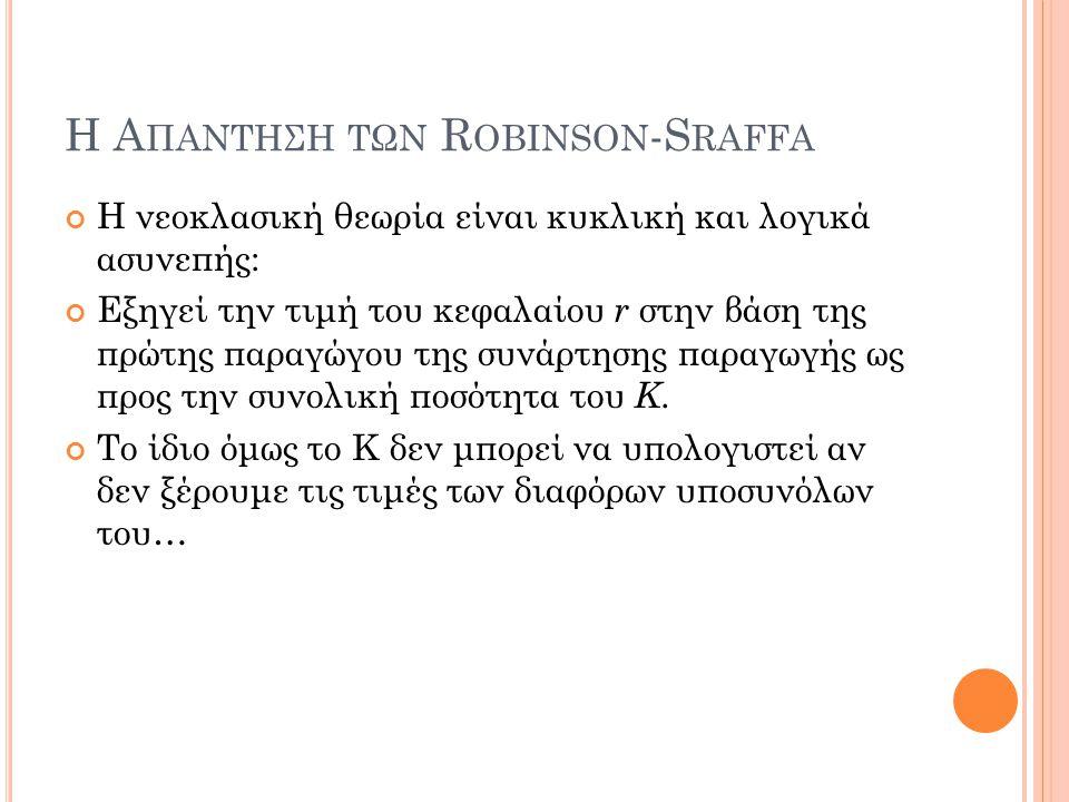 Η Α ΠΑΝΤΗΣΗ ΤΩΝ R OBINSON -S RAFFA Η νεοκλασική θεωρία είναι κυκλική και λογικά ασυνεπής: Εξηγεί την τιμή του κεφαλαίου r στην βάση της πρώτης παραγώγ
