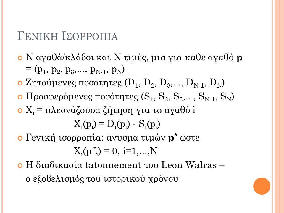 Γ ΕΝΙΚΗ Ι ΣΟΡΡΟΠΙΑ Ν αγαθά/κλάδοι και Ν τιμές, μια για κάθε αγαθό p = (p 1, p 2, p 3,..., p N-1, p N ) Ζητούμενες ποσότητες (D 1, D 2, D 3,..., D N-1,