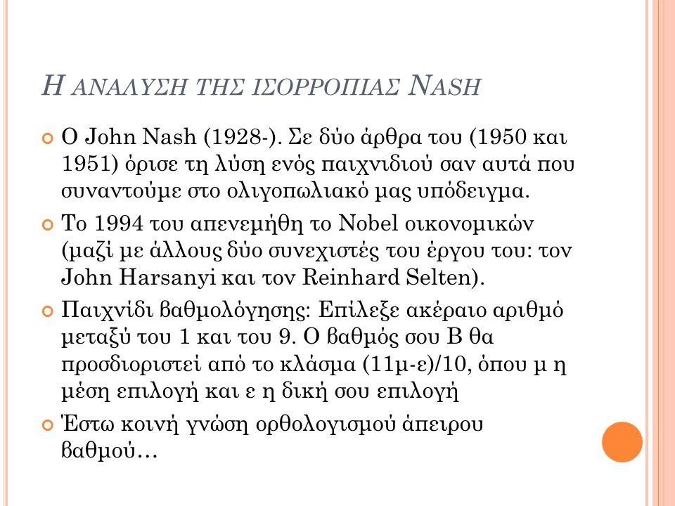Η ΑΝΑΛΥΣΗ ΤΗΣ ΙΣΟΡΡΟΠΙΑΣ N ASH Ο John Nash (1928-). Σε δύο άρθρα του (1950 και 1951) όρισε τη λύση ενός παιχνιδιού σαν αυτά που συναντούμε στο ολιγοπω