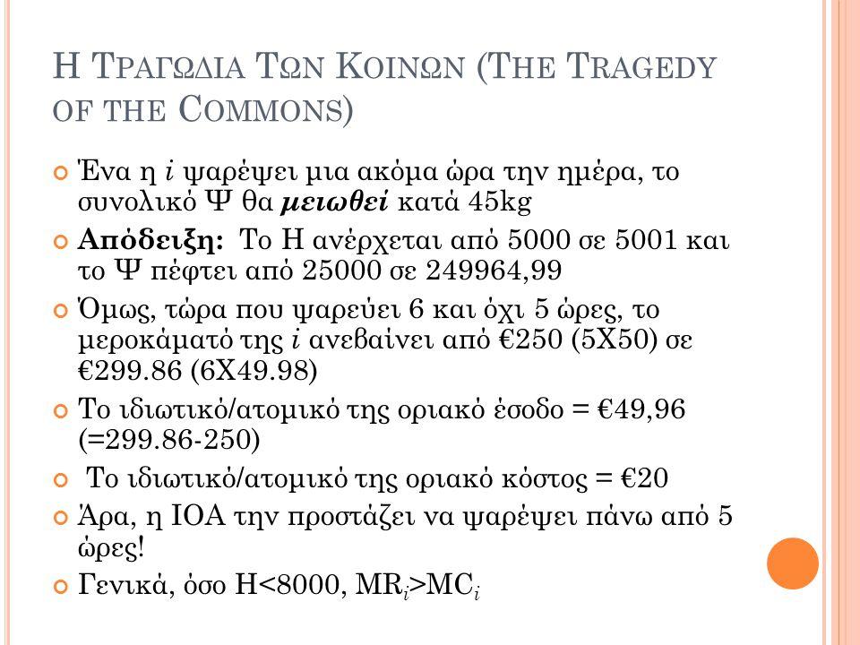 Η Τ ΡΑΓΩΔΙΑ Τ ΩΝ Κ ΟΙΝΩΝ (T HE T RAGEDY OF THE C OMMONS ) Ένα η i ψαρέψει μια ακόμα ώρα την ημέρα, το συνολικό Ψ θα μειωθεί κατά 45kg Απόδειξη: Το Η α