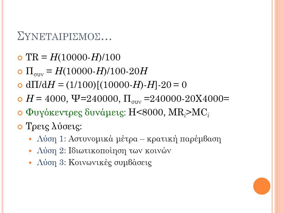 Σ ΥΝΕΤΑΙΡΙΣΜΟΣ … TR = H (10000- H )/100 Π συν = H (10000- H )/100-20 H dΠ/d H = (1/100)[(10000- H )- H ]-20 = 0 H = 4000, Ψ=240000, Π συν =240000-20Χ4