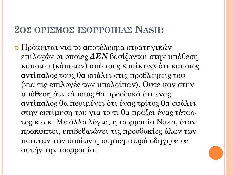 2 ΟΣ ΟΡΙΣΜOΣ ΙΣΟΡΡΟΠIΑΣ N ASH : Πρόκειται για το αποτέλεσμα στρατηγικών επιλογών οι οποίες ΔΕΝ βασίζονται στην υπόθεση κάποιου (κάποιων) από τους «πα
