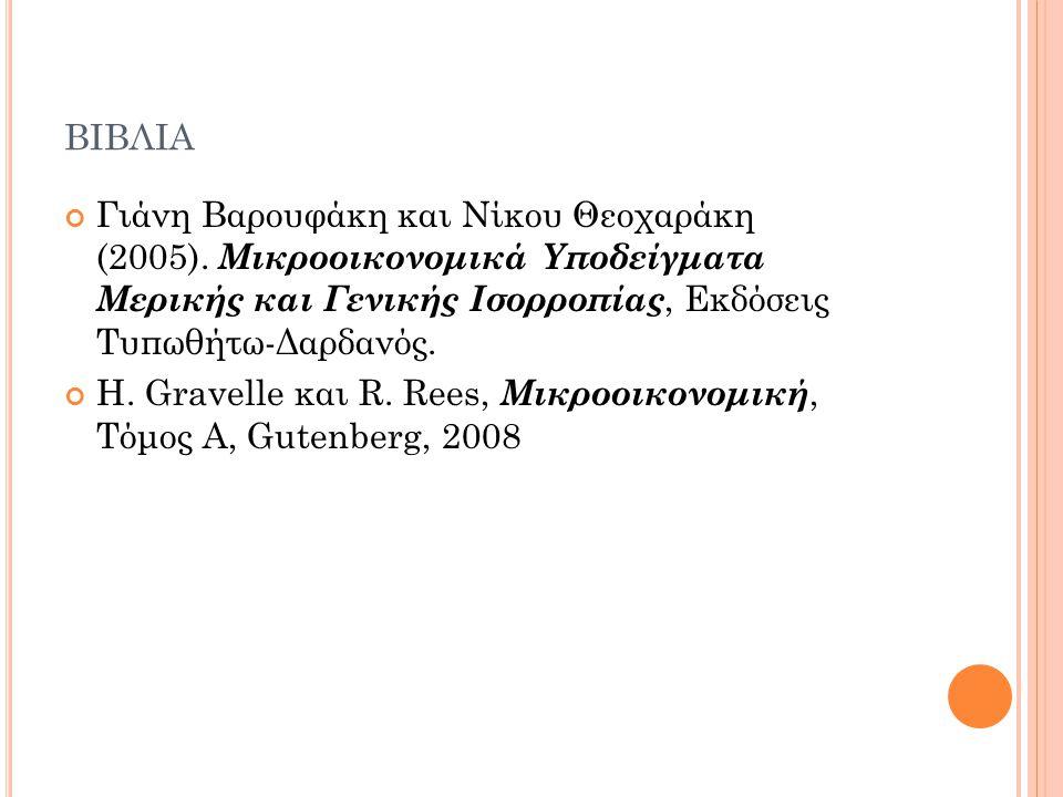 ΒΙΒΛΙΑ Γιάνη Βαρουφάκη και Νίκου Θεοχαράκη (2005). Μικροοικονομικά Υποδείγματα Μερικής και Γενικής Ισορροπίας, Εκδόσεις Τυπωθήτω-Δαρδανός. H. Gravelle