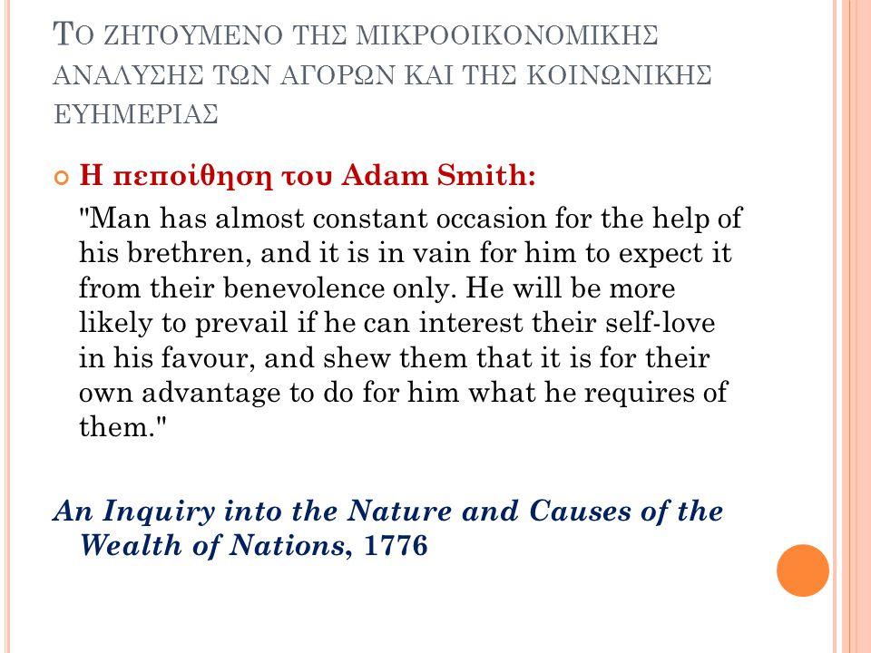 Τ Ο ΖΗΤΟΥΜΕΝΟ ΤΗΣ ΜΙΚΡΟΟΙΚΟΝΟΜΙΚΗΣ ΑΝΑΛΥΣΗΣ ΤΩΝ ΑΓΟΡΩΝ ΚΑΙ ΤΗΣ ΚΟΙΝΩΝΙΚΗΣ ΕΥΗΜΕΡΙΑΣ Η πεποίθηση του Adam Smith: