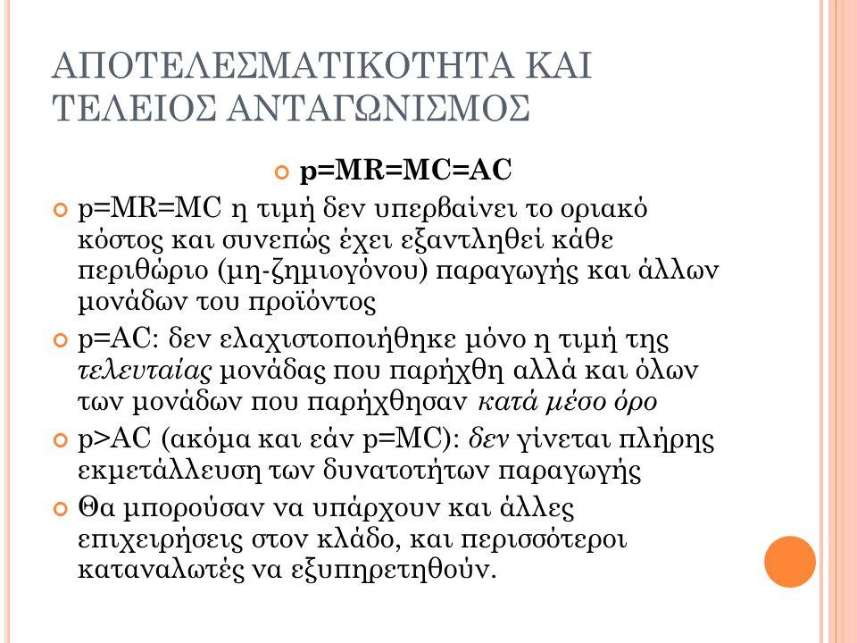ΑΠΟΤΕΛΕΣΜΑΤΙΚΟΤΗΤΑ ΚΑΙ ΤΕΛΕΙΟΣ ΑΝΤΑΓΩΝΙΣΜΟΣ p=MR=MC=AC p=MR=MC η τιμή δεν υπερβαίνει το οριακό κόστος και συνεπώς έχει εξαντληθεί κάθε περιθώριο (μη-ζ