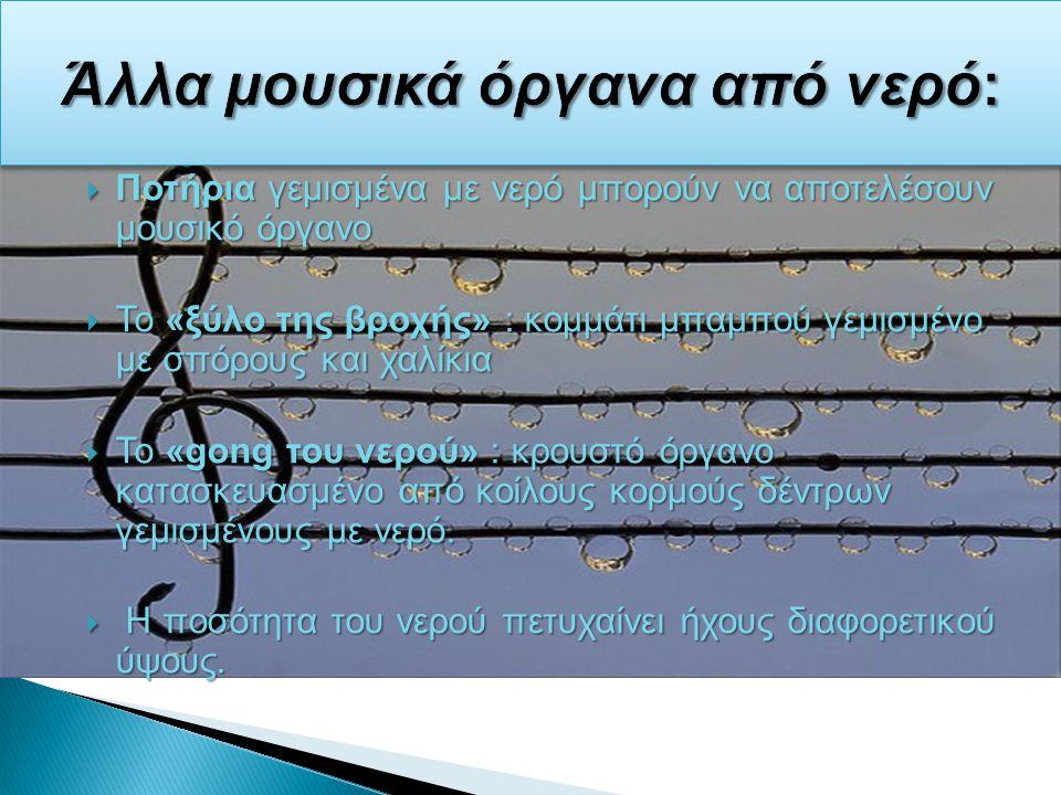 Ποτήρια γεμισμένα με νερό μπορούν να αποτελέσουν μουσικό όργανο  Το «ξύλο της βροχής» : κομμάτι μπαμπού γεμισμένο με σπόρους και χαλίκια  Το «gong