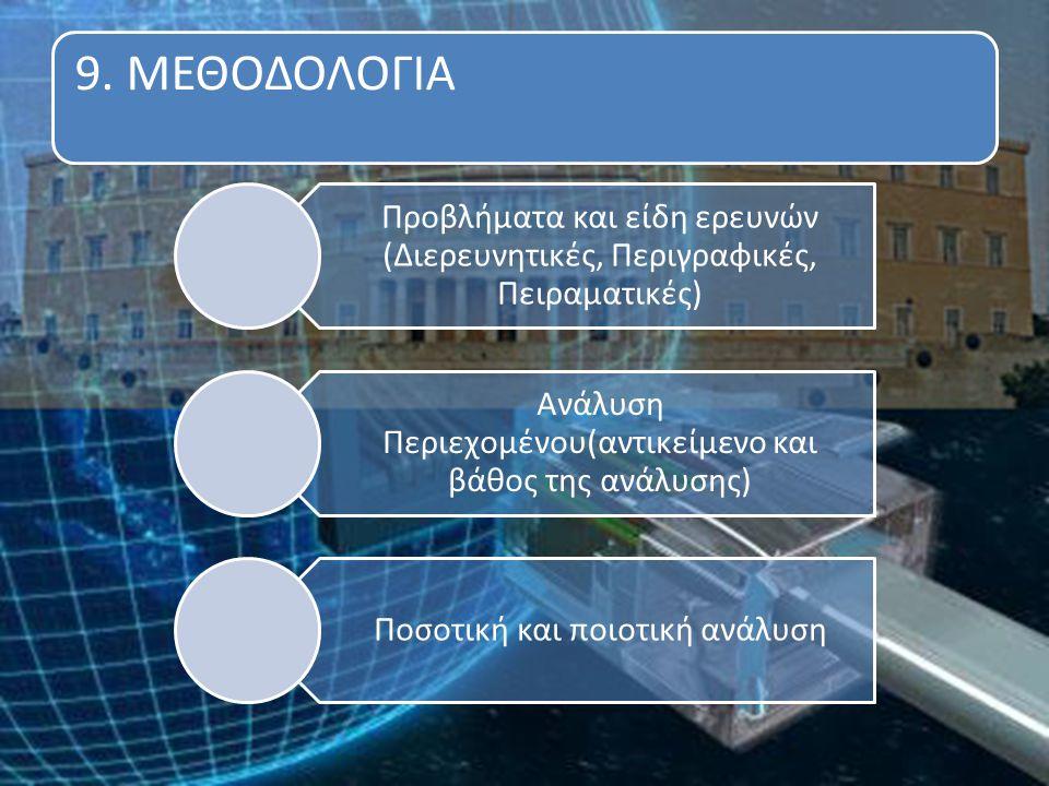 9. ΜΕΘΟΔΟΛΟΓΙΑ Προβλήματα και είδη ερευνών (Διερευνητικές, Περιγραφικές, Πειραματικές) Ανάλυση Περιεχομένου(αντικείμενο και βάθος της ανάλυσης) Ποσοτι
