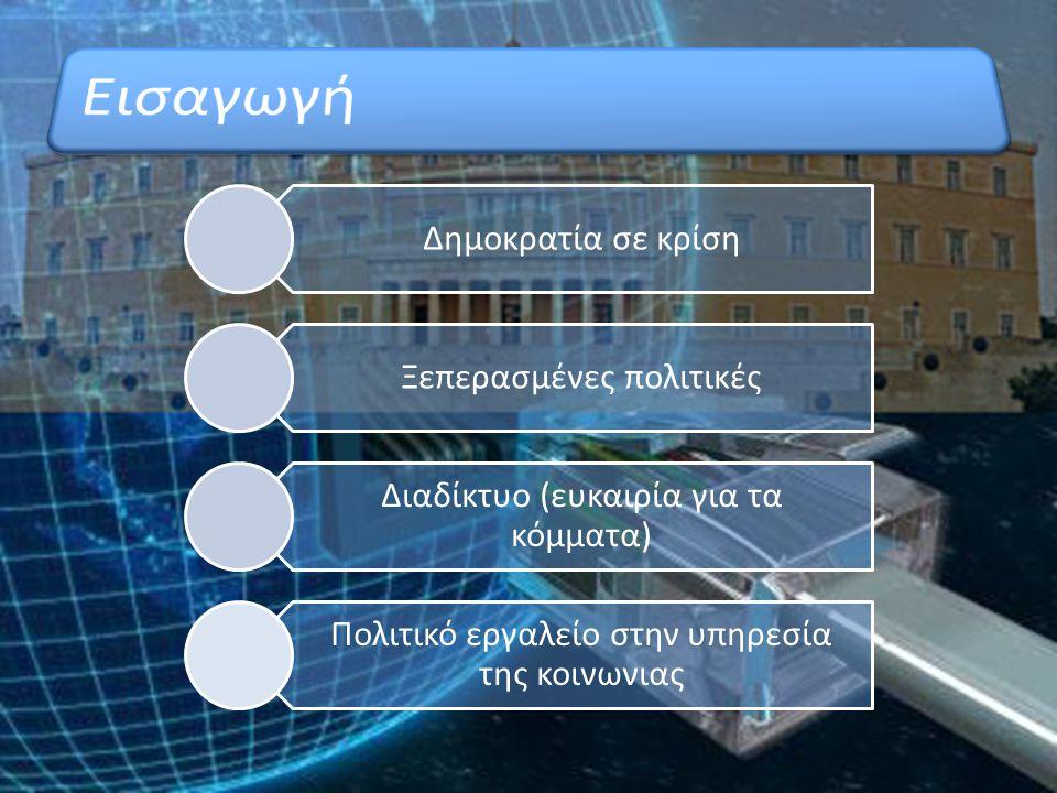 Δημοκρατία σε κρίση Ξεπερασμένες πολιτικές Διαδίκτυο (ευκαιρία για τα κόμματα) Πολιτικό εργαλείο στην υπηρεσία της κοινωνιας