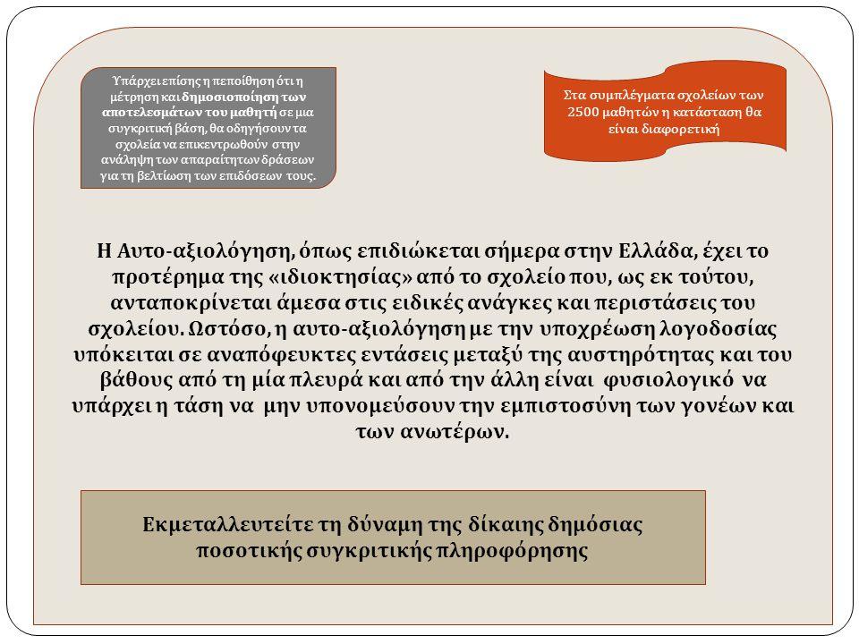 Η Αυτο - αξιολόγηση, ό π ως ε π ιδιώκεται σήμερα στην Ελλάδα, έχει το π ροτέρημα της « ιδιοκτησίας » α π ό το σχολείο π ου, ως εκ τούτου, αντα π οκρίνεται άμεσα στις ειδικές ανάγκες και π εριστάσεις του σχολείου.