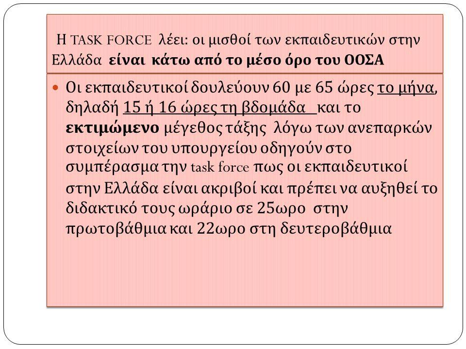 Η TASK FORCE λέει : οι μισθοί των εκ π αιδευτικών στην Ελλάδα είναι κάτω α π ό το μέσο όρο του ΟΟΣΑ  Οι εκ π αιδευτικοί δουλεύουν 60 με 65 ώρες το μήνα, δηλαδή 15 ή 16 ώρες τη βδομάδα και το εκτιμώμενο μέγεθος τάξης λόγω των ανε π αρκών στοιχείων του υ π ουργείου οδηγούν στο συμ π έρασμα την task force π ως οι εκ π αιδευτικοί στην Ελλάδα είναι ακριβοί και π ρέ π ει να αυξηθεί το διδακτικό τους ωράριο σε 25 ωρο στην π ρωτοβάθμια και 22 ωρο στη δευτεροβάθμια