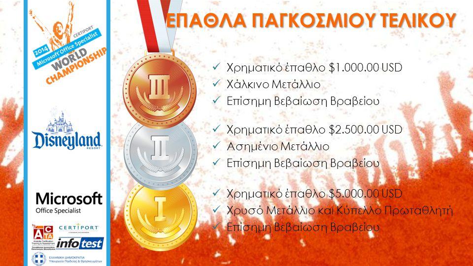  Χρηματικό έπαθλο $5.000.00 USD  Χρυσό Μετάλλιο και Κύπελλο Πρωταθλητή  Επίσημη Βεβαίωση Βραβείου  Χρηματικό έπαθλο $2.500.00 USD  Ασημένιο Μετάλλιο  Επίσημη Βεβαίωση Βραβείου ΕΠΑΘΛΑ ΠΑΓΚΟΣΜΙΟΥ ΤΕΛΙΚΟΥ  Χρηματικό έπαθλο $1.000.00 USD  Χάλκινο Μετάλλιο  Επίσημη Βεβαίωση Βραβείου