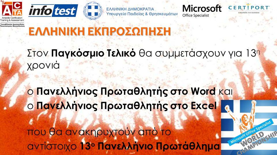 ΠΑΝΕΛΛΗΝΙΟΣ ΤΕΛΙΚΟΣ Θα βραβευτούν επίσης:  ο Δευτεραθλητής και Τριταθλητής του Word και του Excel  ο μικρότερος ηλικιακά συμμετέχοντας  το εξεταστικό κέντρο με τους περισ- σότερους συμμετέχοντες  τα εξεταστικά κέντρα με τους νικητές  ειδικές βραβεύσεις ΠΑΝΕΛΛΗΝΙΟ ΠΡΩΤΑΘΛΗΜΑ 2013 - 2014