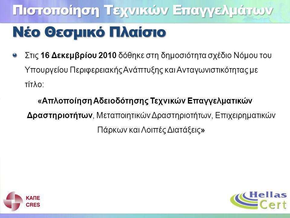 Νέο Θεσμικό Πλαίσιο Στις 16 Δεκεμβρίου 2010 δόθηκε στη δημοσιότητα σχέδιο Νόμου του Υπουργείου Περιφερειακής Ανάπτυξης και Ανταγωνιστικότητας με τίτλο: «Απλοποίηση Αδειοδότησης Τεχνικών Επαγγελματικών Δραστηριοτήτων, Μεταποιητικών Δραστηριοτήτων, Επιχειρηματικών Πάρκων και Λοιπές Διατάξεις» Πιστοποίηση Τεχνικών Επαγγελμάτων