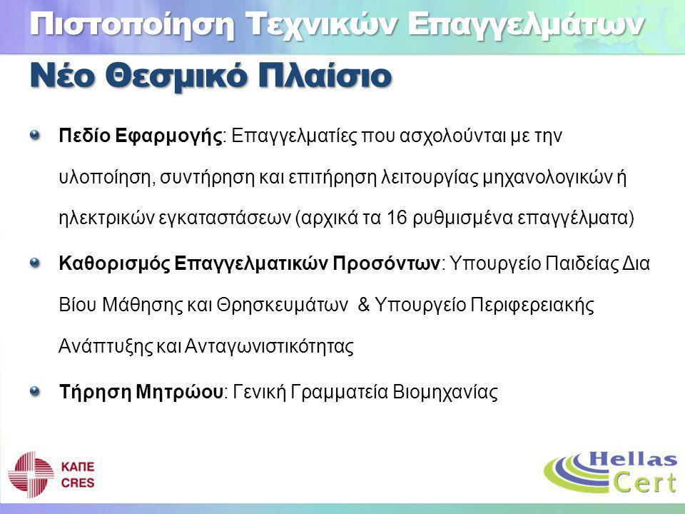 Νέο Θεσμικό Πλαίσιο Πεδίο Εφαρμογής: Επαγγελματίες που ασχολούνται με την υλοποίηση, συντήρηση και επιτήρηση λειτουργίας μηχανολογικών ή ηλεκτρικών εγκαταστάσεων (αρχικά τα 16 ρυθμισμένα επαγγέλματα) Καθορισμός Επαγγελματικών Προσόντων: Υπουργείο Παιδείας Δια Βίου Μάθησης και Θρησκευμάτων & Υπουργείο Περιφερειακής Ανάπτυξης και Ανταγωνιστικότητας Τήρηση Μητρώου: Γενική Γραμματεία Βιομηχανίας Πιστοποίηση Τεχνικών Επαγγελμάτων