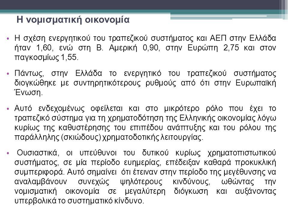 Η νομισματική οικονομία • Η σχέση ενεργητικού του τραπεζικού συστήματος και ΑΕΠ στην Ελλάδα ήταν 1,60, ενώ στη Β.