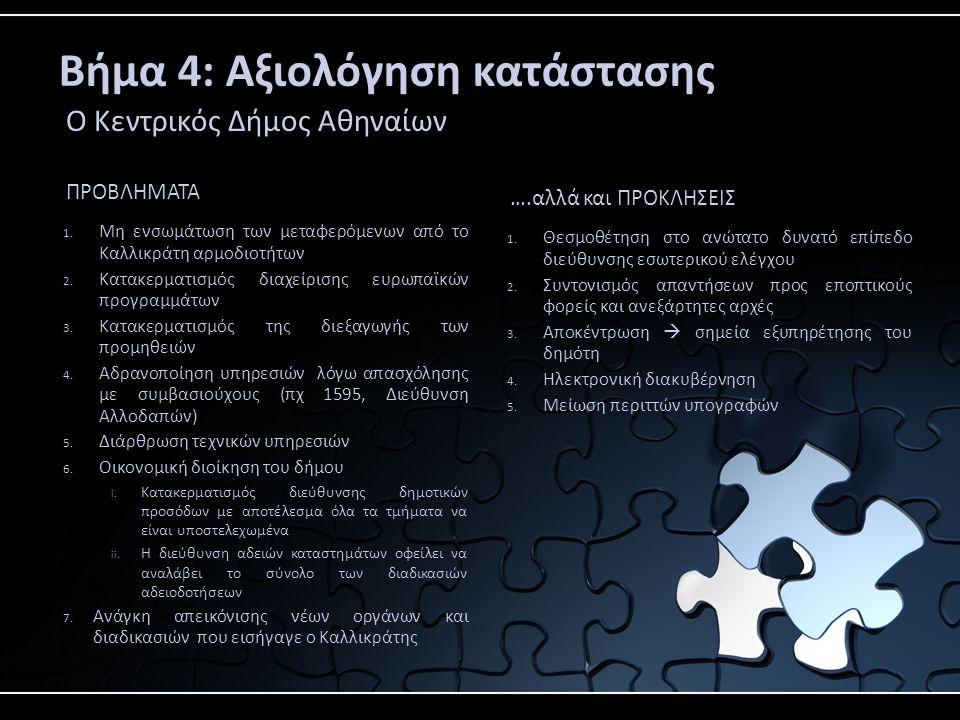Βήμα 4: Αξιολόγηση κατάστασης Ο Κεντρικός Δήμος Αθηναίων ΠΡΟΒΛΗΜΑΤΑ 1.