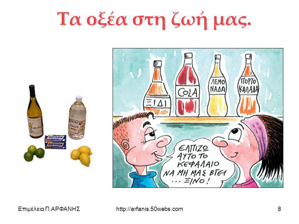 Επιμέλεια Π.ΑΡΦΑΝΗΣhttp://arfanis.50webs.com9 Τα οξέα στη ζωή μας Οξέα υπάρχουν στο φαγητό μας και είμαστε συνηθισμένοι στην γεύση τους (ξινή γεύση).