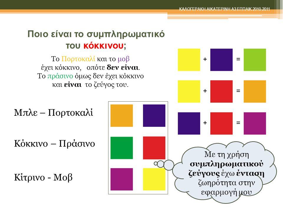 Ποιο είναι το συμπληρωματικό του κόκκινου; Mε τη χρήση συμπληρωματικού ζεύγους έχω ένταση ζωηρότητα στην εφαρμογή μου Μπλε – Πορτοκαλί Κόκκινο – Πράσινο Κίτρινο - Μοβ Το Πορτοκαλί και το μοβ έχει κόκκινο, oπότε δεν είναι.