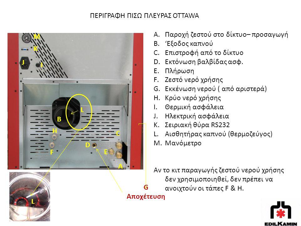 ΠΕΡΙΓΡΑΦΗ ΠΙΣΩ ΠΛΕΥΡΑΣ OTTAWA A.Παροχή ζεστού στο δίκτυο– προσαγωγή B.'Εξοδος καπνού C.Επιστροφή από το δίκτυο D.Εκτόνωση βαλβίδας ασφ. E.Πλήρωση F.Ζε