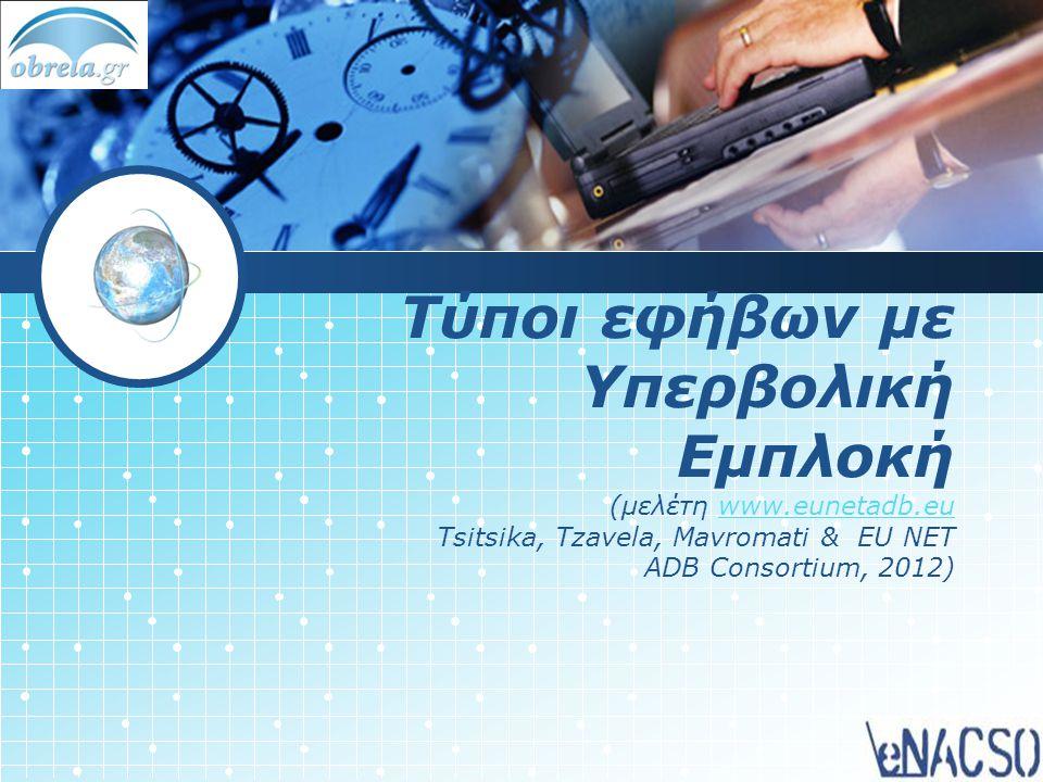 Τύποι εφήβων με Υπερβολική Εμπλοκή (μελέτη www.eunetadb.eu Tsitsika, Tzavela, Mavromati & EU NET ADB Consortium, 2012)www.eunetadb.eu