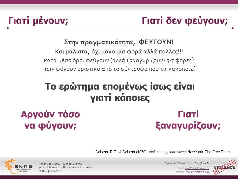 Ευρωπαϊκό Δίκτυο κατά της Βίας (Ε.Δ.κ.Β) Email: info@antiviolence-net.eu Website: www.antiviolence-net.eu Εκδήλωση για την Παγκόσμια Ημέρα για την Εξάλειψη της Βίας κατά των Γυναικών 25 Νοεμβρίου 2013 Ευρωπαϊκό Δίκτυο κατά της Βίας (Ε.Δ.κ.Β) Email: info@antiviolence-net.eu Website: www.antiviolence-net.eu Εκδήλωση για την Παγκόσμια Ημέρα για την Εξάλειψη της Βίας κατά των Γυναικών 25 Νοεμβρίου 2013 Στην πραγματικότητα, ΦΕΥΓΟΥΝ .