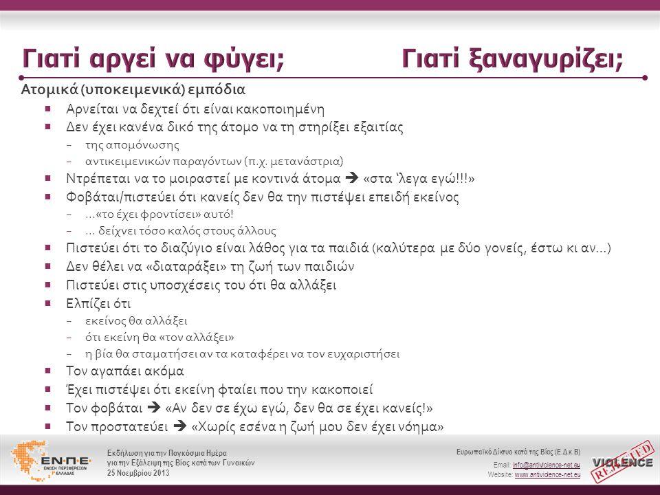 Ευρωπαϊκό Δίκτυο κατά της Βίας (Ε.Δ.κ.Β) Email: info@antiviolence-net.eu Website: www.antiviolence-net.eu Εκδήλωση για την Παγκόσμια Ημέρα για την Εξάλειψη της Βίας κατά των Γυναικών 25 Νοεμβρίου 2013 Ευρωπαϊκό Δίκτυο κατά της Βίας (Ε.Δ.κ.Β) Email: info@antiviolence-net.eu Website: www.antiviolence-net.eu Εκδήλωση για την Παγκόσμια Ημέρα για την Εξάλειψη της Βίας κατά των Γυναικών 25 Νοεμβρίου 2013 Ατομικά ( υποκειμενικά ) εμπόδια  Αρνείται να δεχτεί ότι είναι κακοποιημένη  Δεν έχει κανένα δικό της άτομο να τη στηρίξει εξαιτίας − της απομόνωσης − αντικειμενικών παραγόντων ( π.