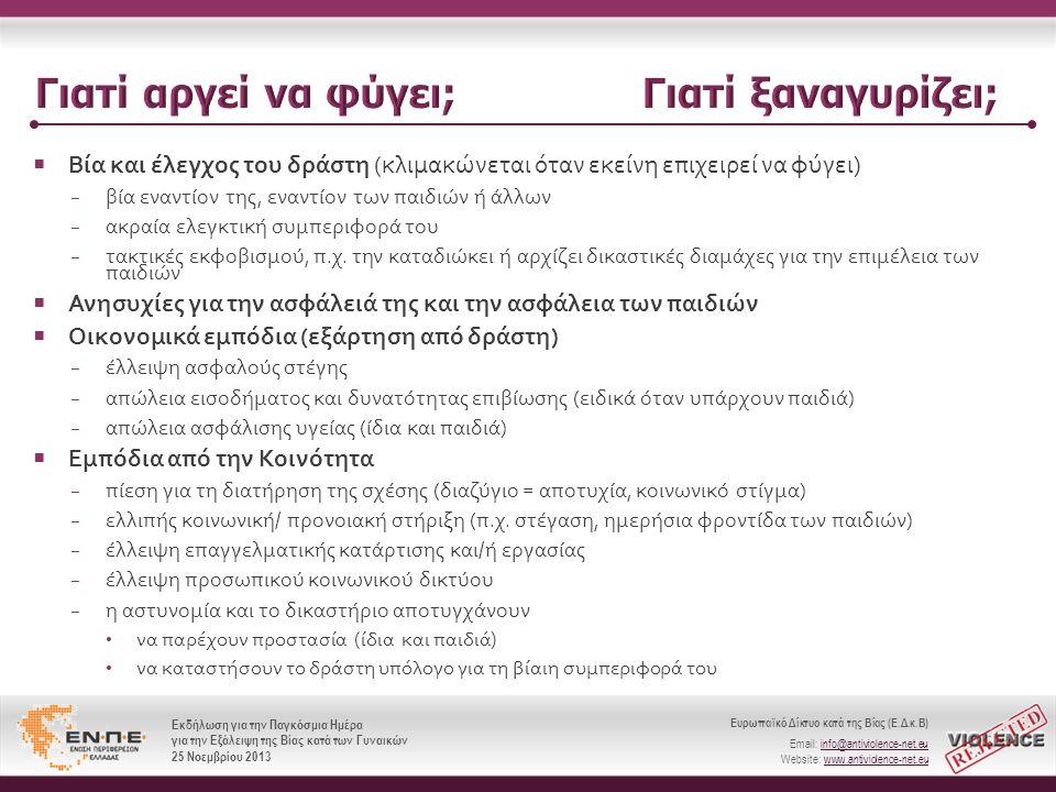 Ευρωπαϊκό Δίκτυο κατά της Βίας (Ε.Δ.κ.Β) Email: info@antiviolence-net.eu Website: www.antiviolence-net.eu Εκδήλωση για την Παγκόσμια Ημέρα για την Εξάλειψη της Βίας κατά των Γυναικών 25 Νοεμβρίου 2013 Ευρωπαϊκό Δίκτυο κατά της Βίας (Ε.Δ.κ.Β) Email: info@antiviolence-net.eu Website: www.antiviolence-net.eu Εκδήλωση για την Παγκόσμια Ημέρα για την Εξάλειψη της Βίας κατά των Γυναικών 25 Νοεμβρίου 2013  Βία και έλεγχος του δράστη ( κλιμακώνεται όταν εκείνη επιχειρεί να φύγει ) − βία εναντίον της, εναντίον των παιδιών ή άλλων − ακραία ελεγκτική συμπεριφορά του − τακτικές εκφοβισμού, π.