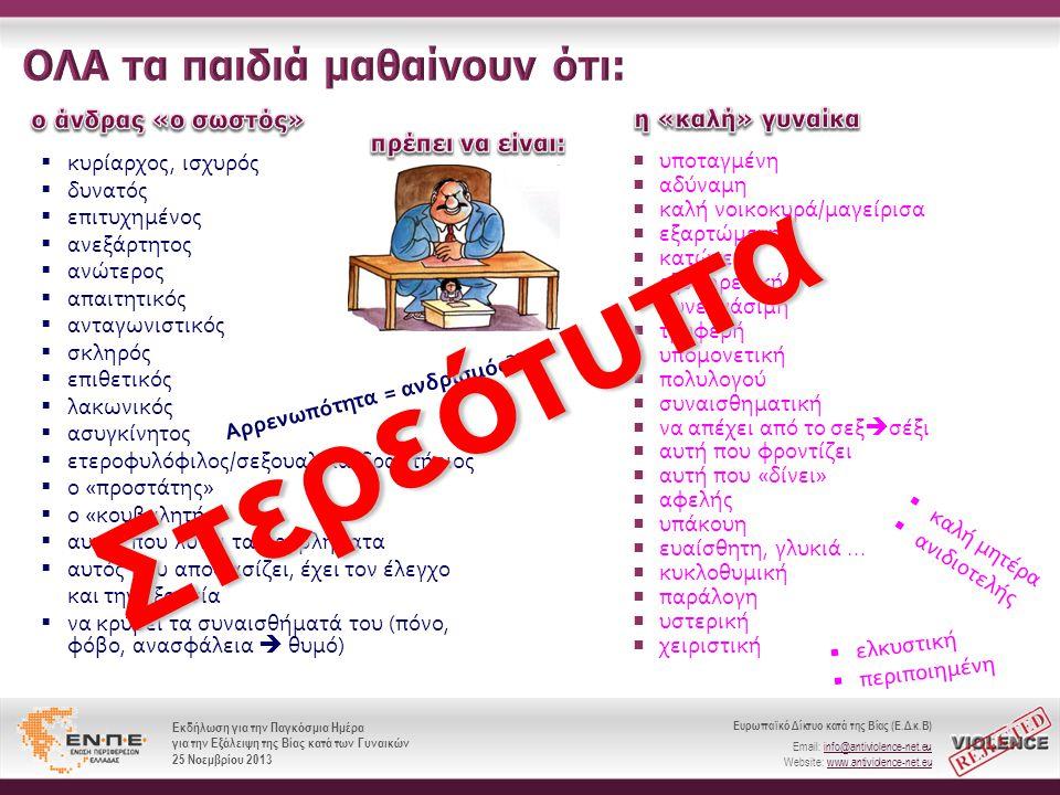 Ευρωπαϊκό Δίκτυο κατά της Βίας (Ε.Δ.κ.Β) Email: info@antiviolence-net.eu Website: www.antiviolence-net.eu Εκδήλωση για την Παγκόσμια Ημέρα για την Εξάλειψη της Βίας κατά των Γυναικών 25 Νοεμβρίου 2013 Ευρωπαϊκό Δίκτυο κατά της Βίας (Ε.Δ.κ.Β) Email: info@antiviolence-net.eu Website: www.antiviolence-net.eu Εκδήλωση για την Παγκόσμια Ημέρα για την Εξάλειψη της Βίας κατά των Γυναικών 25 Νοεμβρίου 2013  υποταγμένη  αδύναμη  καλή νοικοκυρά / μαγείρισα  εξαρτώμενη  κατώτερη  εξυπηρετική  συνεργάσιμη  τρυφερή  υπομονετική  πολυλογού  συναισθηματική  να απέχει από το σεξ  σέξι  αυτή που φροντίζει  αυτή που « δίνει »  αφελής  υπάκουη  ευαίσθητη, γλυκιά...