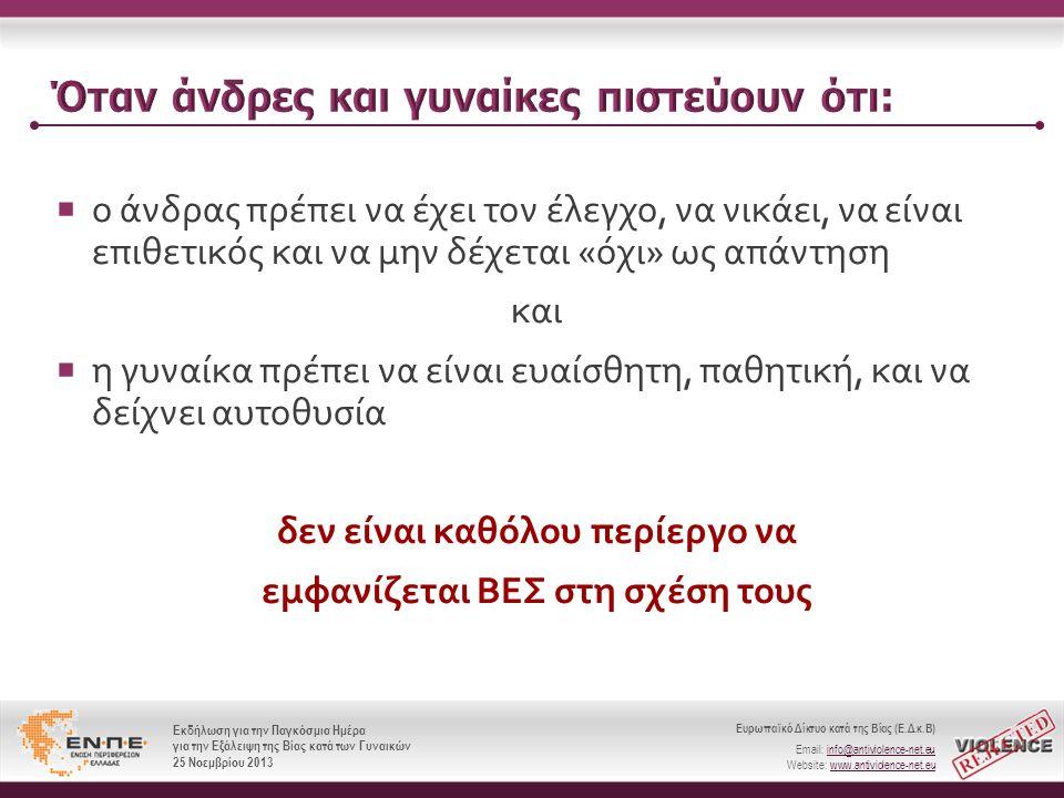 Ευρωπαϊκό Δίκτυο κατά της Βίας (Ε.Δ.κ.Β) Email: info@antiviolence-net.eu Website: www.antiviolence-net.eu Εκδήλωση για την Παγκόσμια Ημέρα για την Εξάλειψη της Βίας κατά των Γυναικών 25 Νοεμβρίου 2013 Ευρωπαϊκό Δίκτυο κατά της Βίας (Ε.Δ.κ.Β) Email: info@antiviolence-net.eu Website: www.antiviolence-net.eu Εκδήλωση για την Παγκόσμια Ημέρα για την Εξάλειψη της Βίας κατά των Γυναικών 25 Νοεμβρίου 2013  ο άνδρας πρέπει να έχει τον έλεγχο, να νικάει, να είναι επιθετικός και να μην δέχεται « όχι » ως απάντηση και  η γυναίκα πρέπει να είναι ευαίσθητη, παθητική, και να δείχνει αυτοθυσία δεν είναι καθόλου περίεργο να εμφανίζεται ΒΕΣ στη σχέση τους