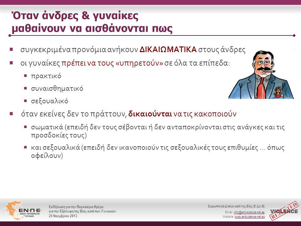 Ευρωπαϊκό Δίκτυο κατά της Βίας (Ε.Δ.κ.Β) Email: info@antiviolence-net.eu Website: www.antiviolence-net.eu Εκδήλωση για την Παγκόσμια Ημέρα για την Εξάλειψη της Βίας κατά των Γυναικών 25 Νοεμβρίου 2013 Ευρωπαϊκό Δίκτυο κατά της Βίας (Ε.Δ.κ.Β) Email: info@antiviolence-net.eu Website: www.antiviolence-net.eu Εκδήλωση για την Παγκόσμια Ημέρα για την Εξάλειψη της Βίας κατά των Γυναικών 25 Νοεμβρίου 2013  συγκεκριμένα προνόμια ανήκουν ΔΙΚΑΙΩΜΑΤΙΚΑ στους άνδρες  οι γυναίκες πρέπει να τους « υπηρετούν » σε όλα τα επίπεδα :  πρακτικό  συναισθηματικό  σεξουαλικό  όταν εκείνες δεν το πράττουν, δικαιούνται να τις κακοποιούν  σωματικά ( επειδή δεν τους σέβονται ή δεν ανταποκρίνονται στις ανάγκες και τις προσδοκίες τους )  και σεξουαλικά ( επειδή δεν ικανοποιούν τις σεξουαλικές τους επιθυμίες...
