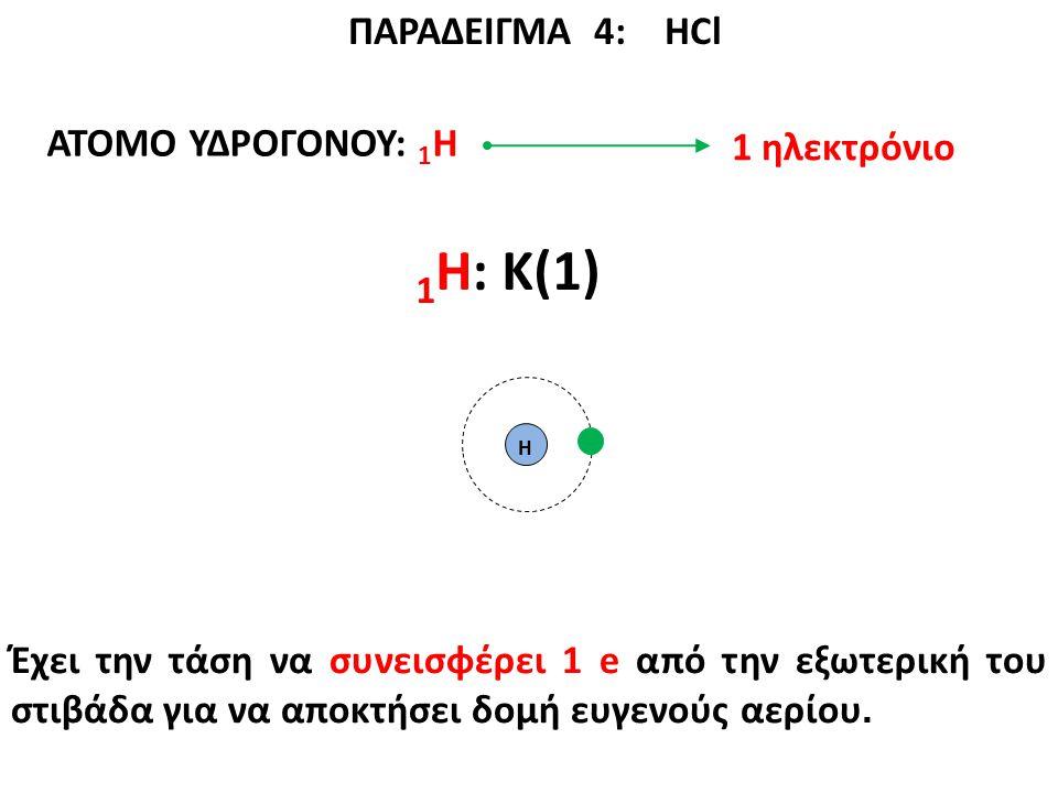 ΠΑΡΑΔΕΙΓΜΑ 4: ΗCl ΑΤΟΜΟ ΥΔΡΟΓΟΝΟΥ: 1 Η 1 Η: K(1) Η Έχει την τάση να συνεισφέρει 1 e από την εξωτερική του στιβάδα για να αποκτήσει δομή ευγενούς αερίο