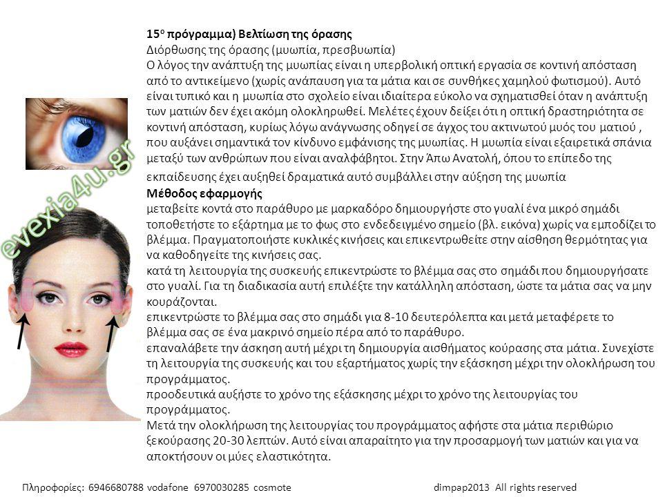 15 ο πρόγραμμα) Βελτίωση της όρασης Διόρθωσης της όρασης (μυωπία, πρεσβυωπία) Ο λόγος την ανάπτυξη της μυωπίας είναι η υπερβολική οπτική εργασία σε κο
