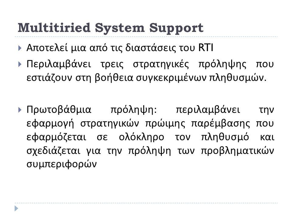 Multitiried System Support  Αποτελεί μια από τις διαστάσεις του RTI  Περιλαμβάνει τρεις στρατηγικές πρόληψης που εστιάζουν στη βοήθεια συγκεκριμένων
