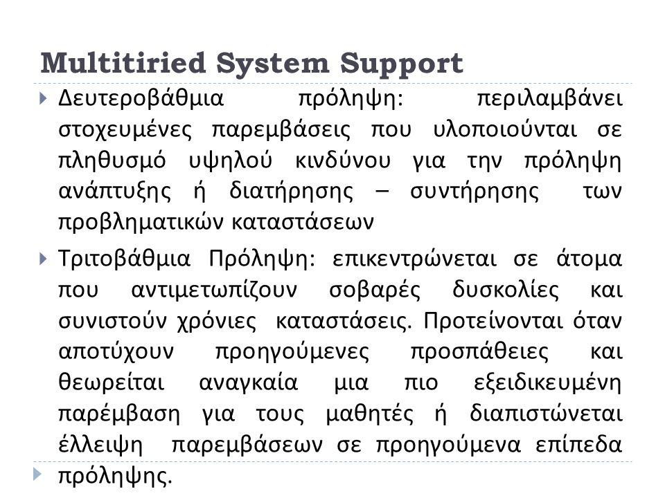 Multitiried System Support  Δευτεροβάθμια πρόληψη : περιλαμβάνει στοχευμένες παρεμβάσεις που υλοποιούνται σε πληθυσμό υψηλού κινδύνου για την πρόληψη