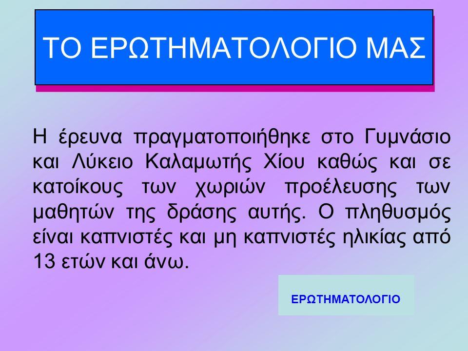 ΤΟ ΕΡΩΤΗΜΑΤΟΛΟΓΙΟ ΜΑΣ Η έρευνα πραγματοποιήθηκε στο Γυμνάσιο και Λύκειο Καλαμωτής Χίου καθώς και σε κατοίκους των χωριών προέλευσης των μαθητών της δράσης αυτής.