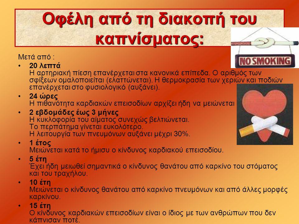 Οφέλη από τη διακοπή του καπνίσματος: Μετά από : •20 λεπτά Η αρτηριακή πίεση επανέρχεται στα κανονικά επίπεδα.