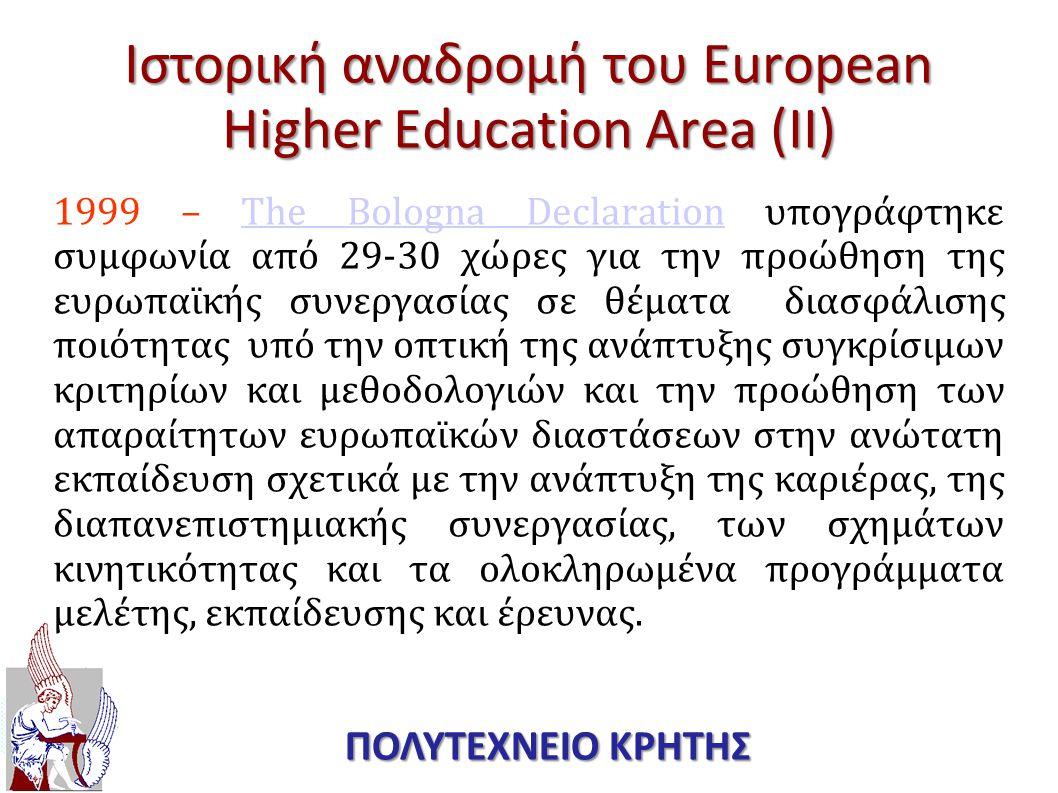 Ιστορική αναδρομή του European Higher Education Area (ΙΙ) 1999 – The Bologna Declaration υπογράφτηκε συμφωνία από 29-30 χώρες για την προώθηση της ευρ
