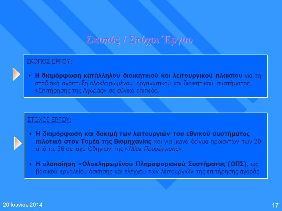 17 20 Ιουνίου 2014 Σκοπός / Στόχοι Έργου ΣΚΟΠΟΣ ΕΡΓΟΥ:  Η διαμόρφωση κατάλληλου διοικητικού και λειτουργικού πλαισίου για τη σταδιακή ανάπτυξη ολοκλη