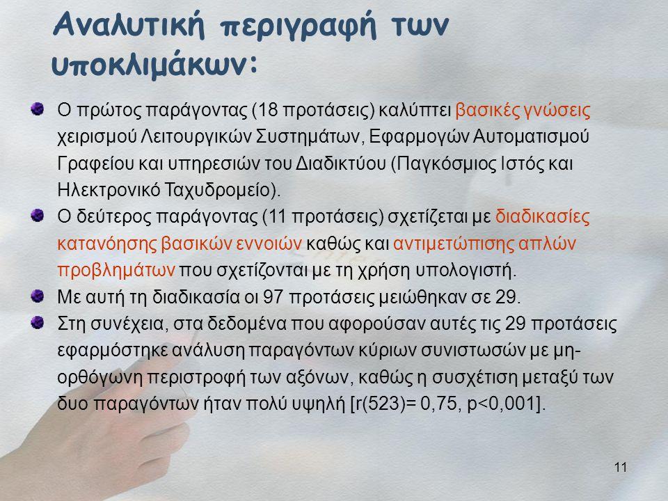 11 Αναλυτική περιγραφή των υποκλιμάκων: Ο πρώτος παράγοντας (18 προτάσεις) καλύπτει βασικές γνώσεις χειρισμού Λειτουργικών Συστημάτων, Εφαρμογών Αυτοματισμού Γραφείου και υπηρεσιών του Διαδικτύου (Παγκόσμιος Ιστός και Ηλεκτρονικό Ταχυδρομείο).