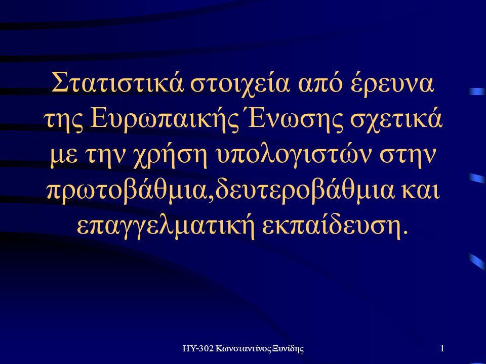 ΗΥ-302 Κωνσταντίνος Ξυνίδης1 Στατιστικά στοιχεία από έρευνα της Ευρωπαικής Ένωσης σχετικά με την χρήση υπολογιστών στην πρωτοβάθμια,δευτεροβάθμια και επαγγελματική εκπαίδευση.