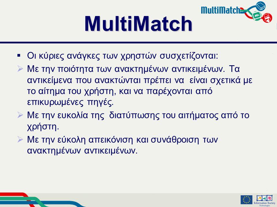 MultiMatch  Οι κύριες ανάγκες των χρηστών συσχετίζονται:  Με την ποιότητα των ανακτημένων αντικειμένων.
