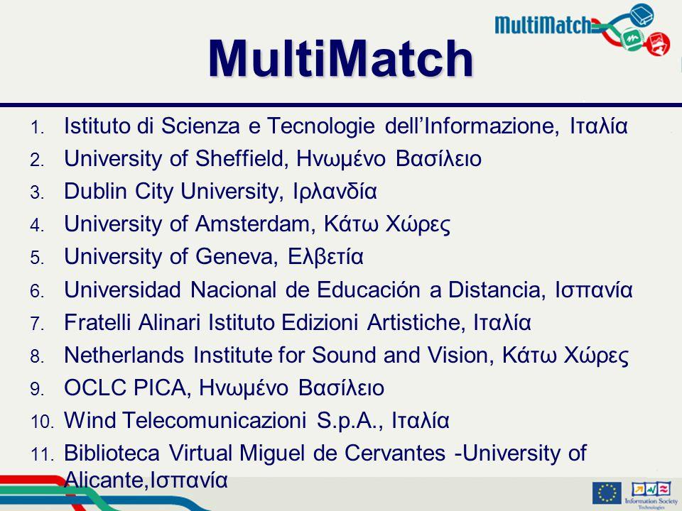 MultiMatch 1. Istituto di Scienza e Tecnologie dell'Informazione, Ιταλία 2.